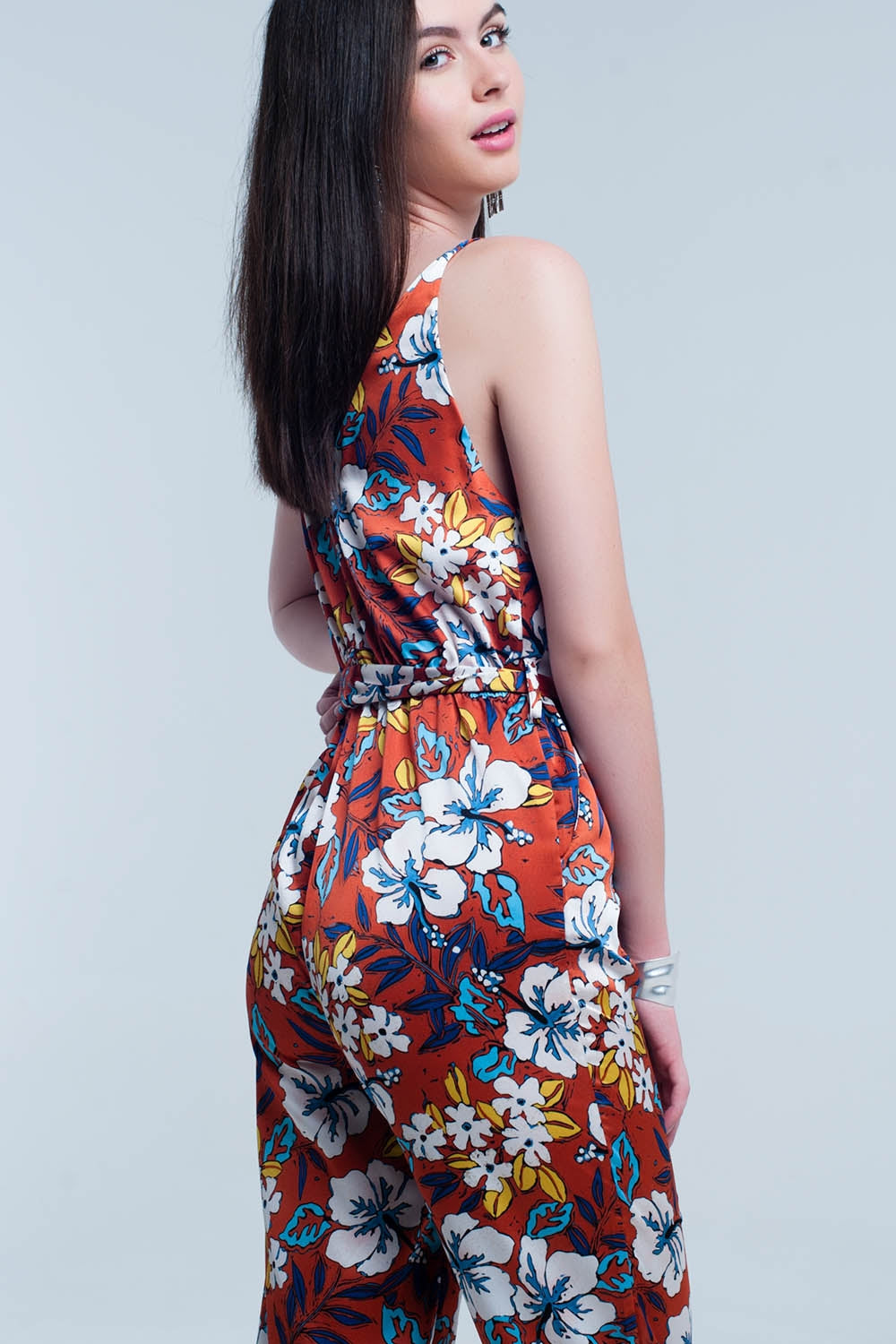 Orange Jumpsuit With Floral Pattern