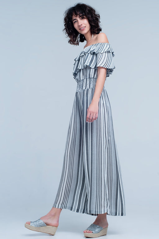 Black Striped Jumpsuit With Rushes