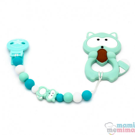 Pack Baby Raccoon Mint Teether + Pacifier Clip