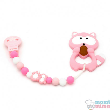 Pack Baby Raccoon Pink Teether + Pacifier Clip