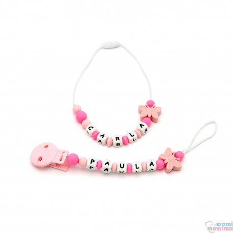 Pack Mini Teether Necklace + Butterfly Pink Pacifier Clip