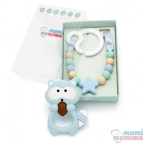 Pack Blue & Mint Teether Toy For Cart With Raccoon Teether