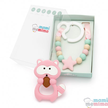 Pack Pink & Mint Teether Toy For Cart With Raccoon Teether
