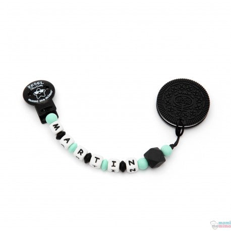 Pack Biscuit Black Teether + Rebel Baby Pacifier Clip