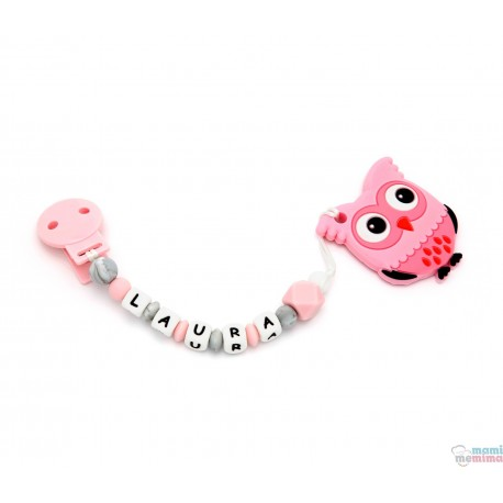 Pack Owl Teether + Sweet Pink Pacifier Clip