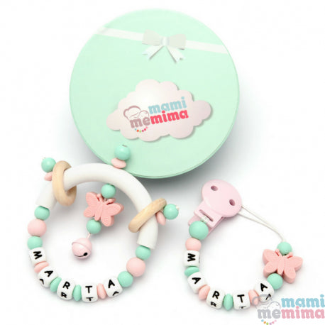 Pack Personalized Butterfly Pink and Mint - Teether & Rattle Teether