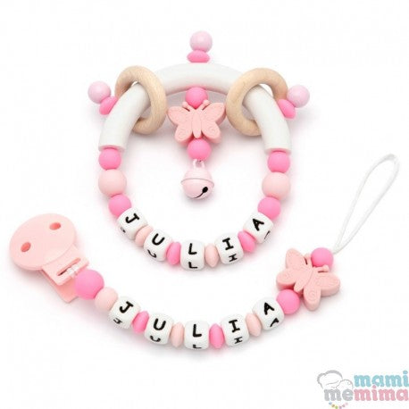Pack Personalized Butterfly Pink and Pink  - Teether & Rattle Teether