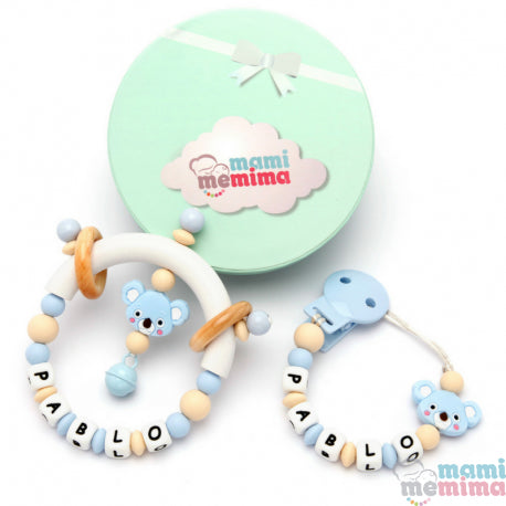 Pack Personalized Natural Blue Koala - Teether & Rattle Teether