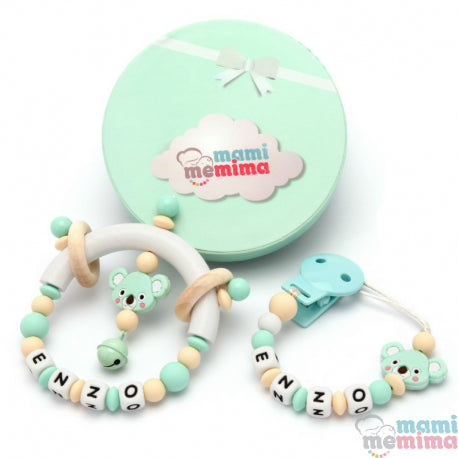 Pack Personalized Natural Mint Koala - Teether & Rattle Teether