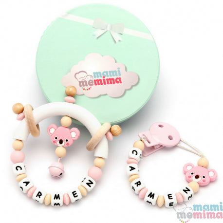 Pack Personalized Natural Pink Koala - Teether & Rattle Teether
