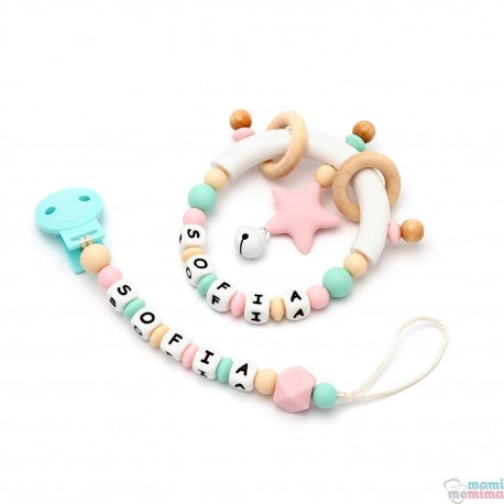 Pack Personalized Pink and Mint - Teether & Rattle Teether