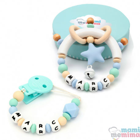Pack Personalized Blue and Mint - Teether & Rattle Teether