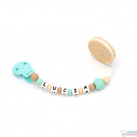 Pack Biscuit gold Teether + Mint Pacifier Clip
