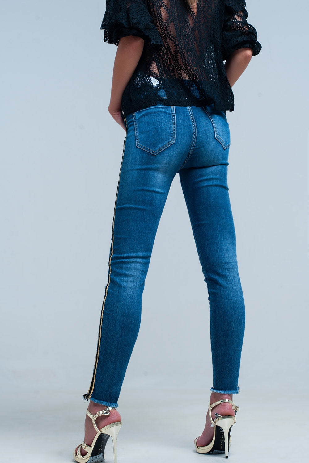 Blue Denim Pants With Gold And Black Sideband