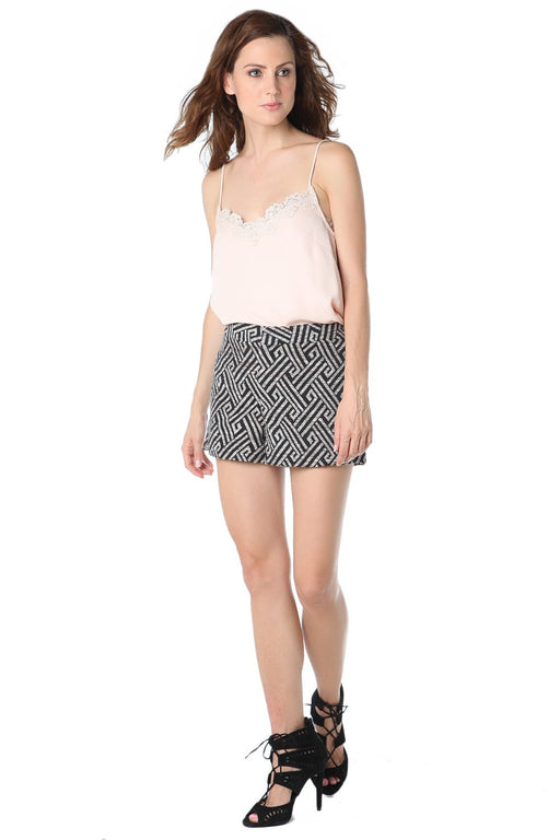 Black Geo Printed Shorts