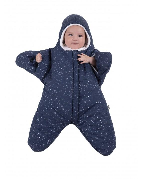 Navy Blue Baby overall Star - constellation pattern