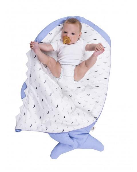 Light blue shark sleeping bag for babies - Whales (WINTER VERSION)