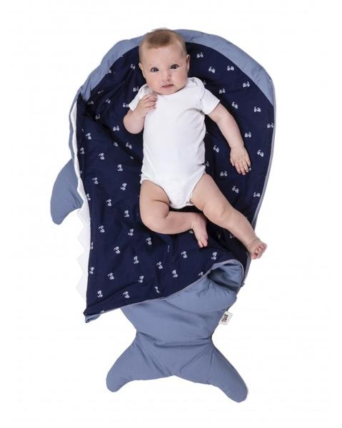 Slate blue shark sleeping bag for babies - Bicycles (WINTER VERSION)