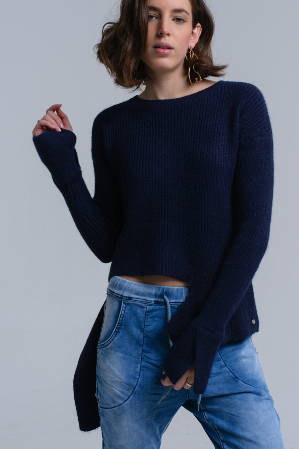 Navy Knitted Asymmetric Sweater