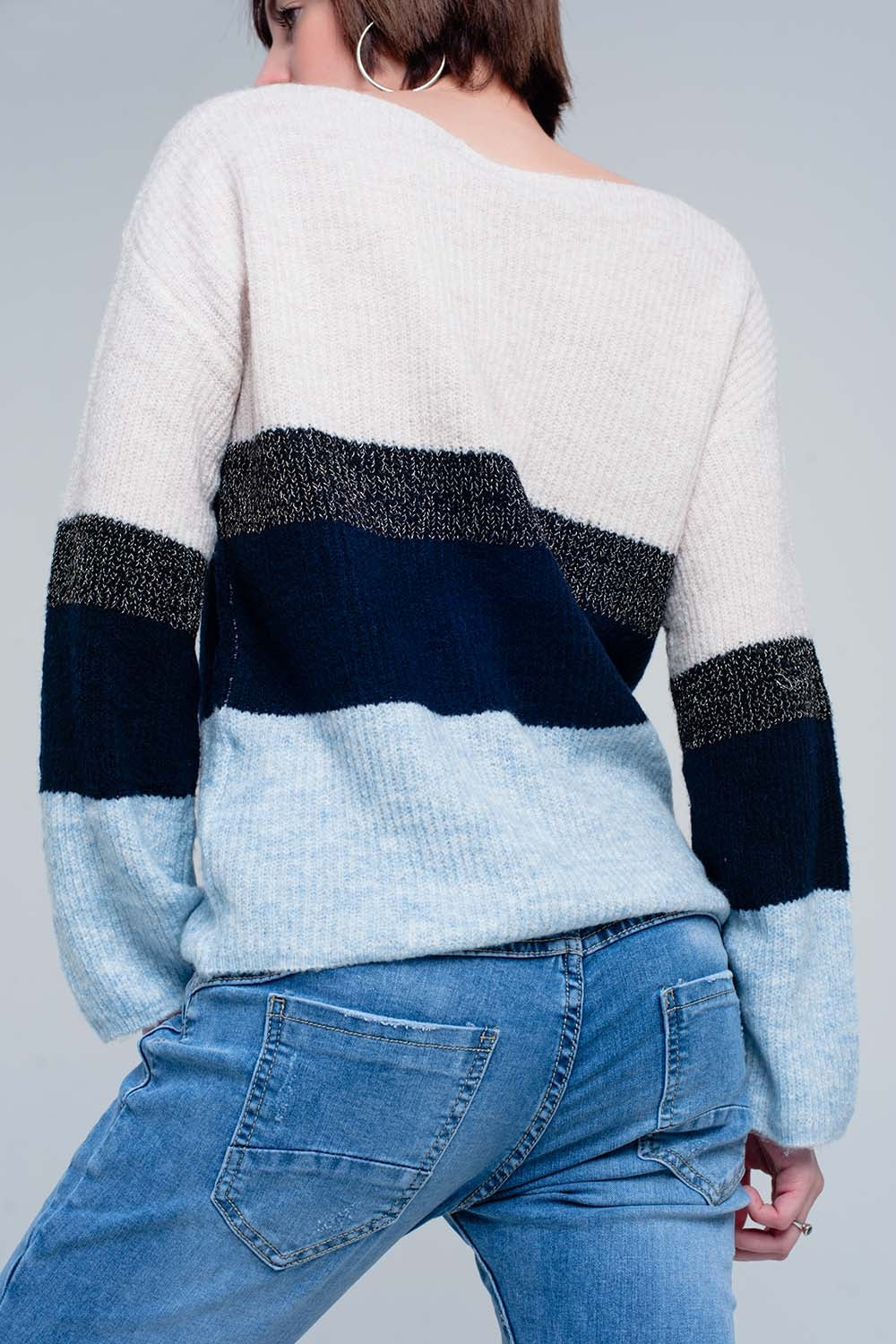 Blue Striped Sweater With Glitter Lurex