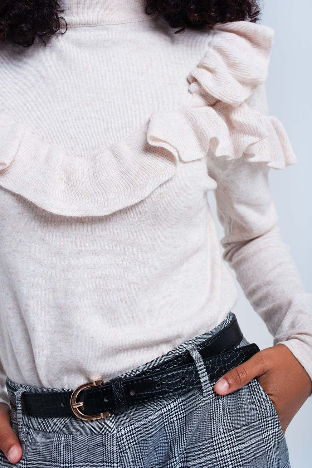 Beige Sweater With Ruffle