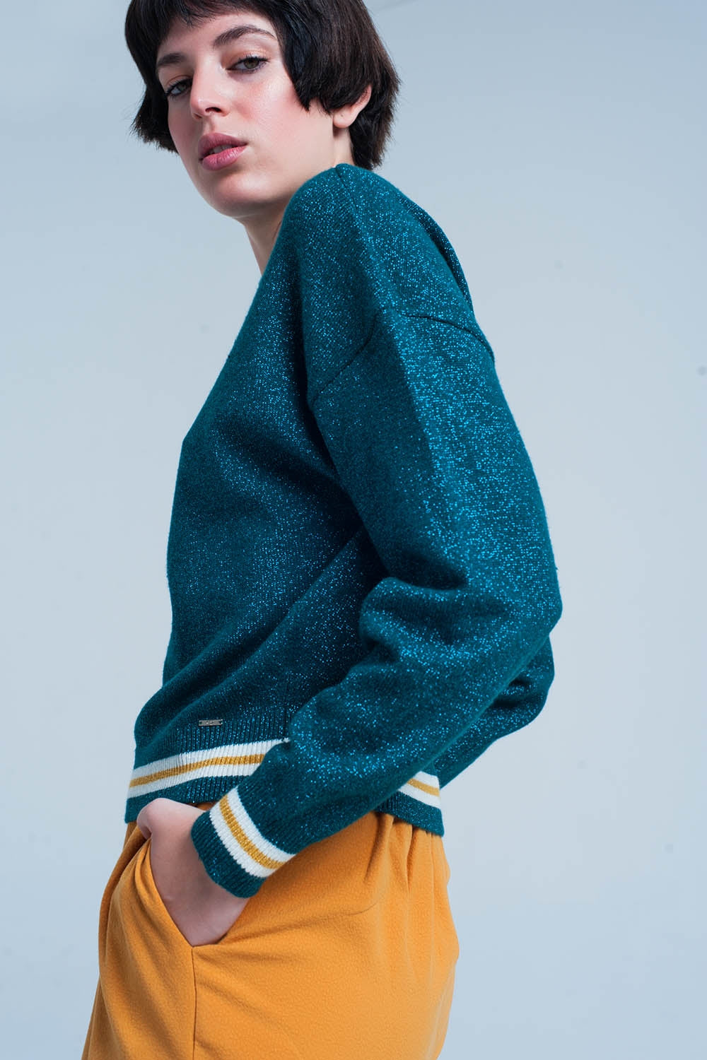Green Glitter Sweater With Stripe Details