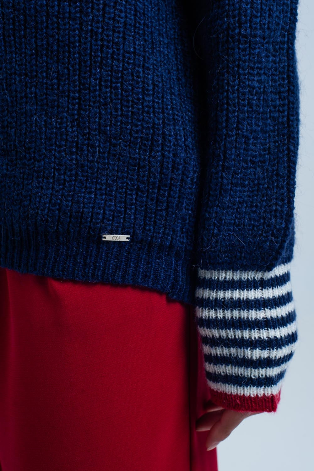Navy V-Neck Sweater With Striped Details