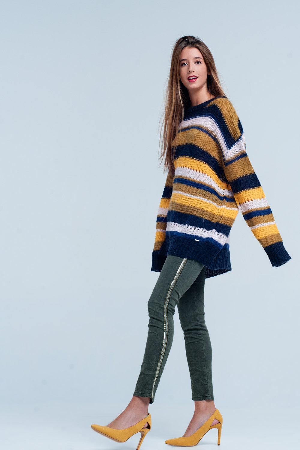 Mustard Chunky Knit Striped Maxi Sweater
