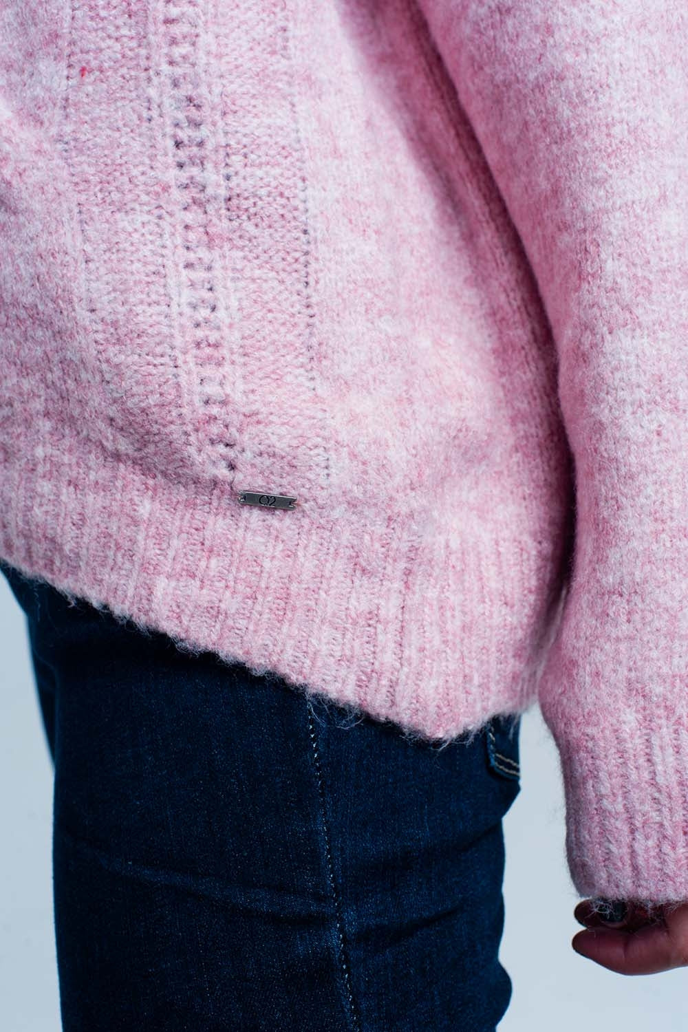 Pink Cable Knitted Sweater With Round Neck