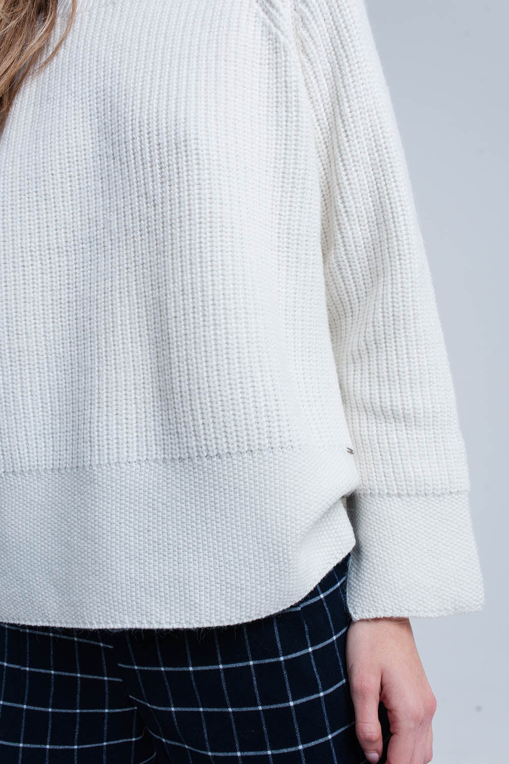 Cream Knitted Sweater With Open Side Detail