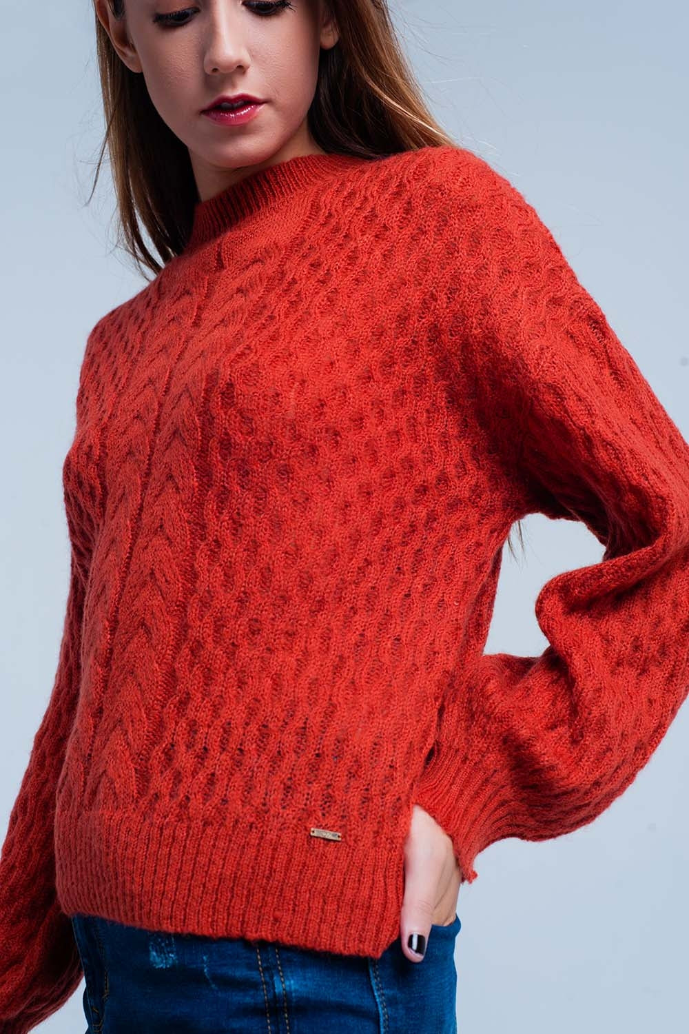 Orange Cable Knitted Sweater With Round Neck
