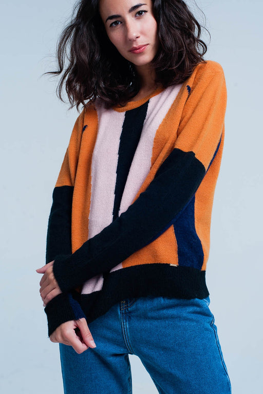 Camel And Navy Color Block Sweater