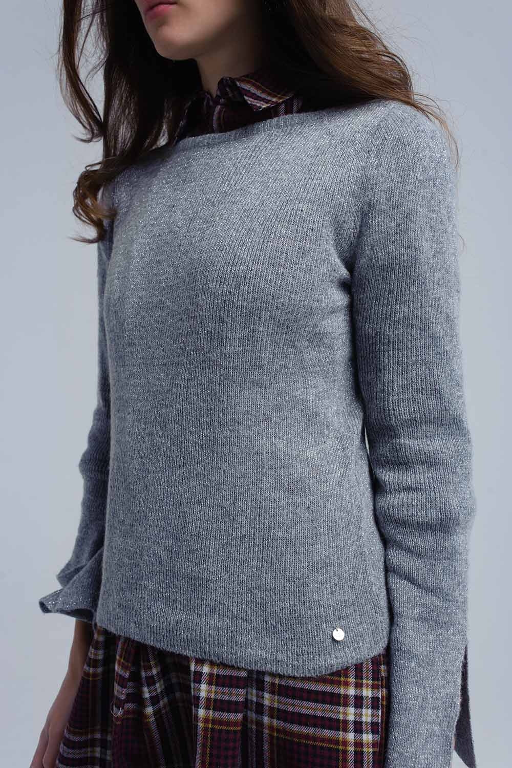 Gray Shiny Sweater