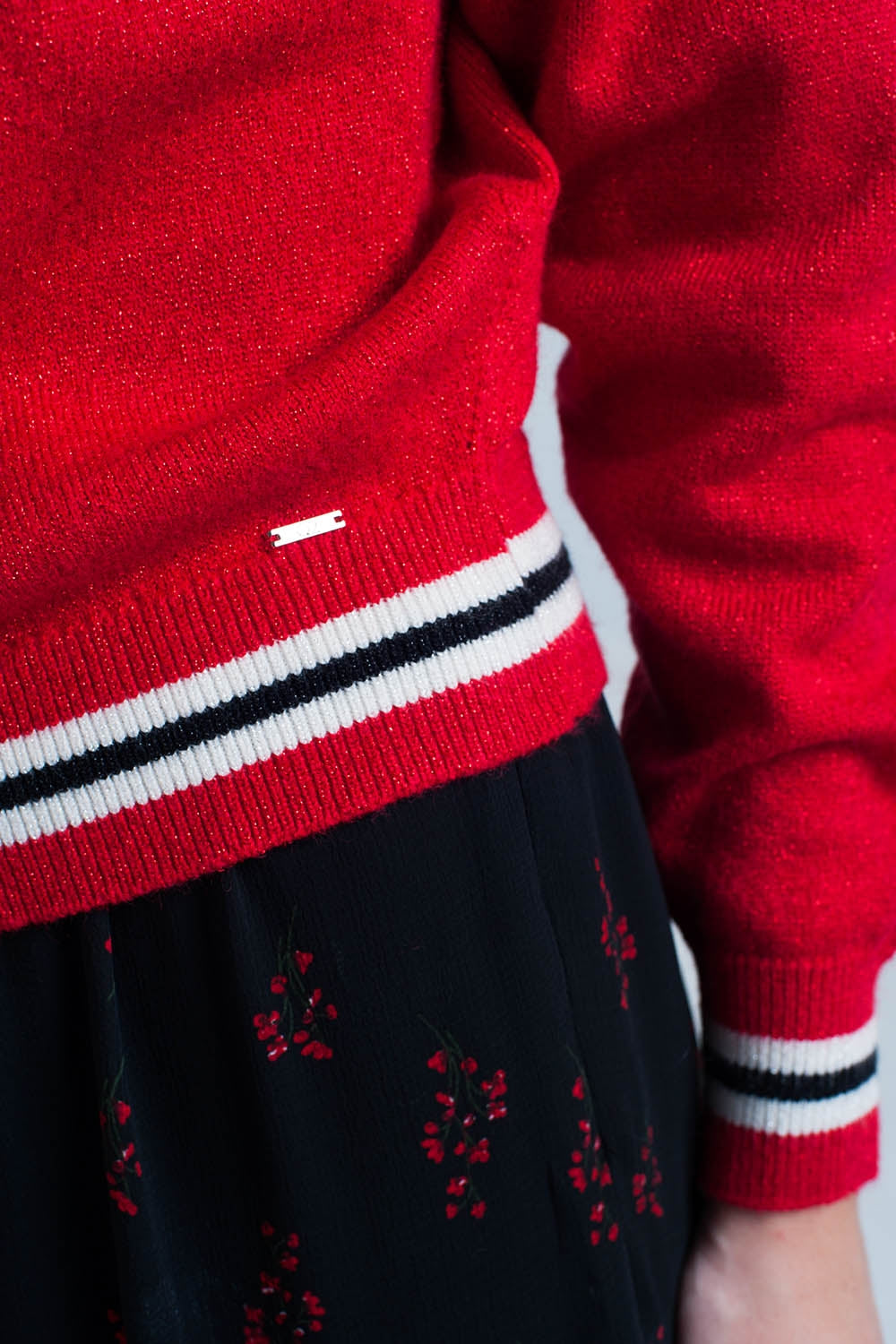 Red Glitter Sweater With Stripe Details