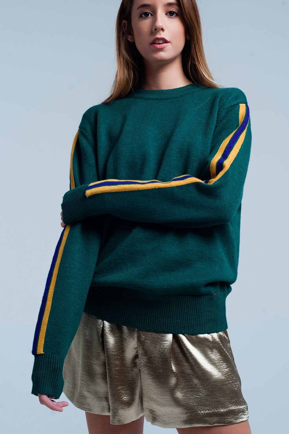 Green Sweater With Side Stripe On Sleeves
