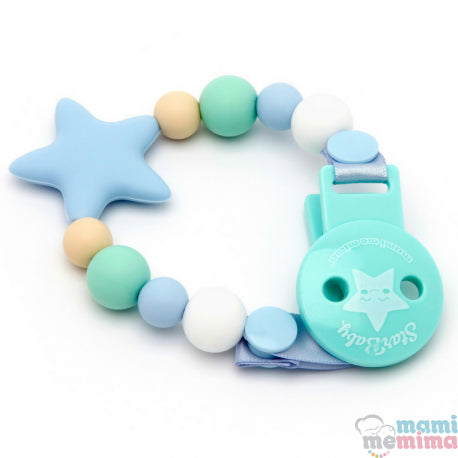 Blue and Mint Star Silicone Teether Pacifier