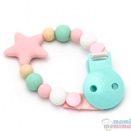 Pink and Mint Star Silicone Teether Pacifier