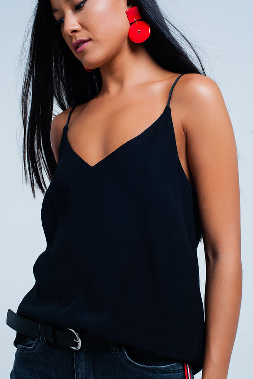 Black Cami Top With Satin Straps