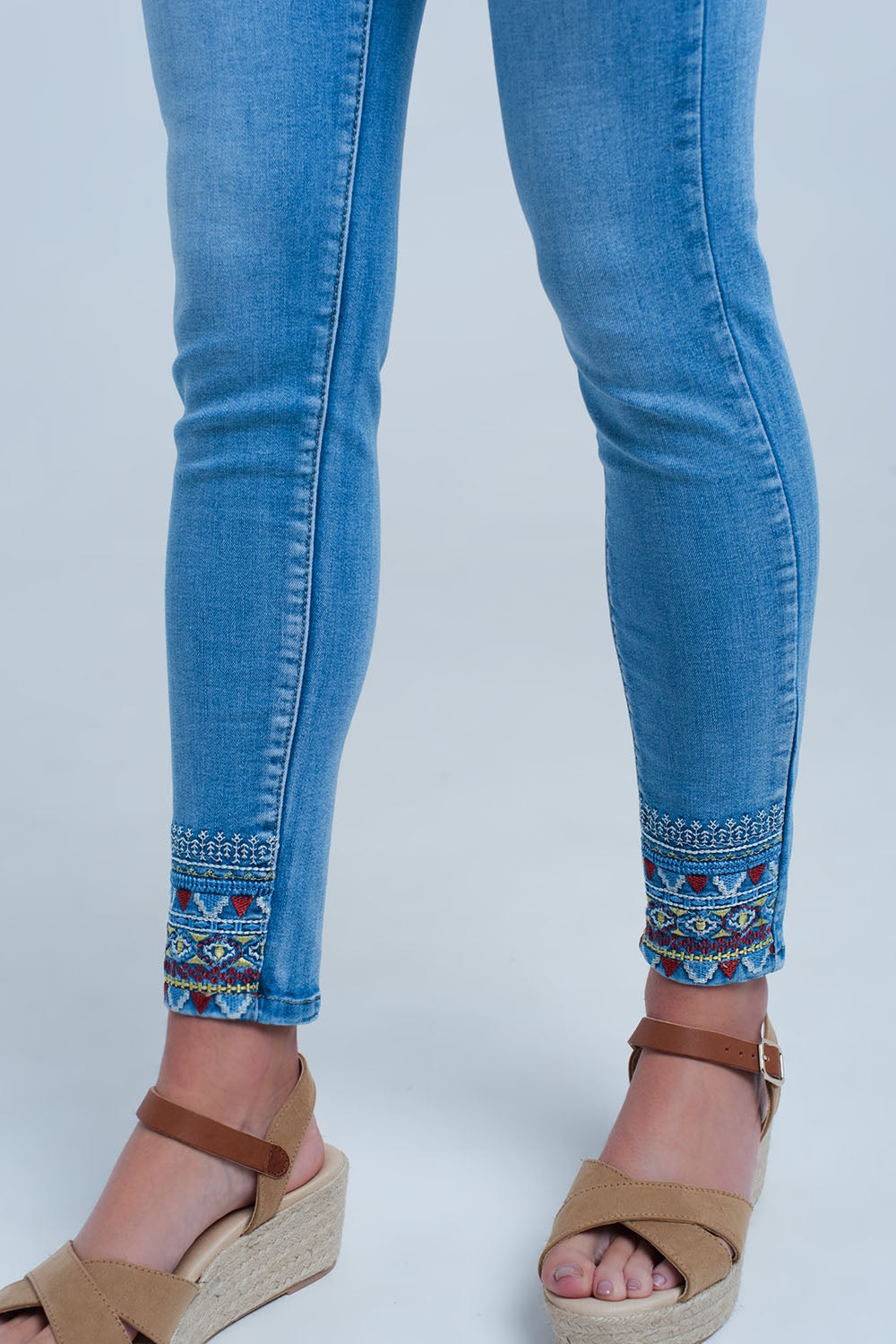 Jeans With Embroidery By The Hems