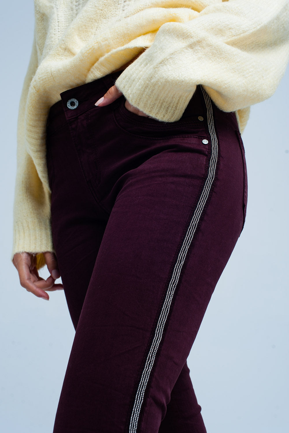 Maroon Skinny Jeans With Metal Side Stripe