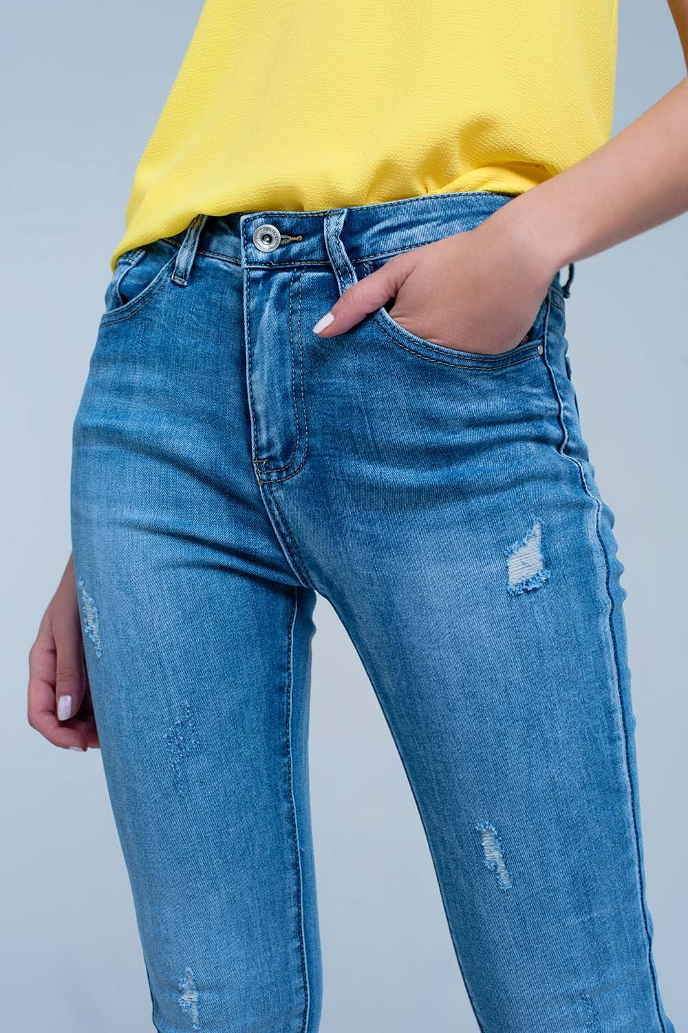 Mid Wash Distressed Denim Jeans