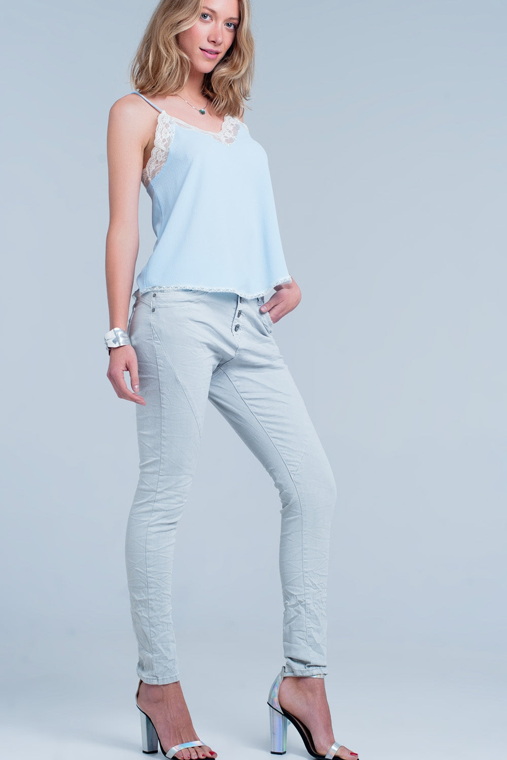Grey Low Rise Boyfriend Jeans