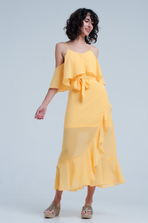 Yellow Textured Spot Dress With Waist Tie