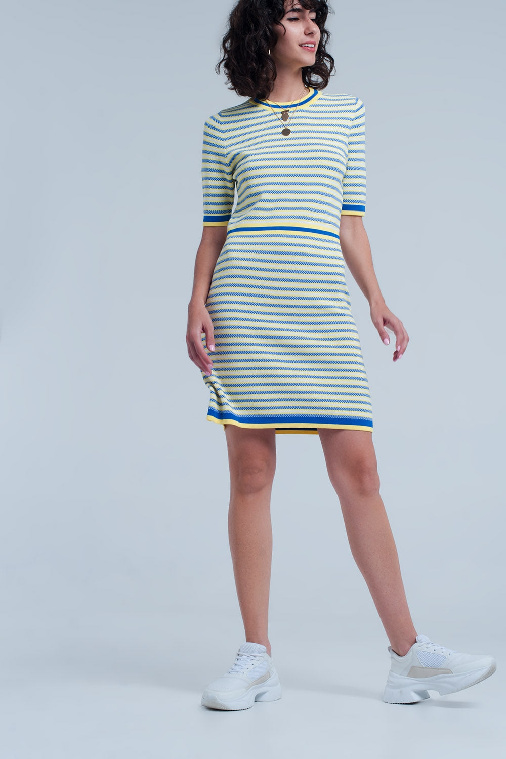 Yellow Striped Knitted Dress