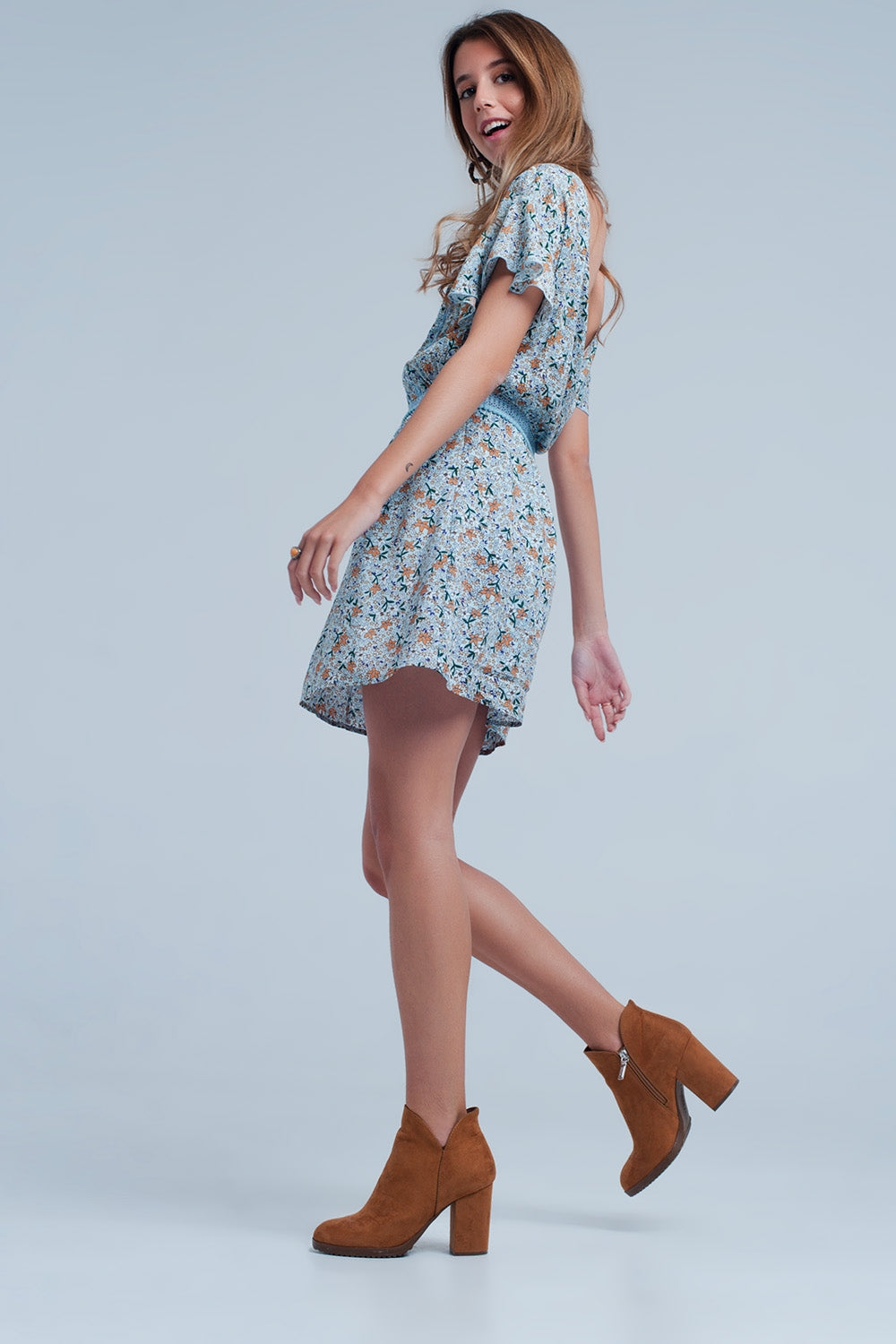 Blue Dress With Flower Print