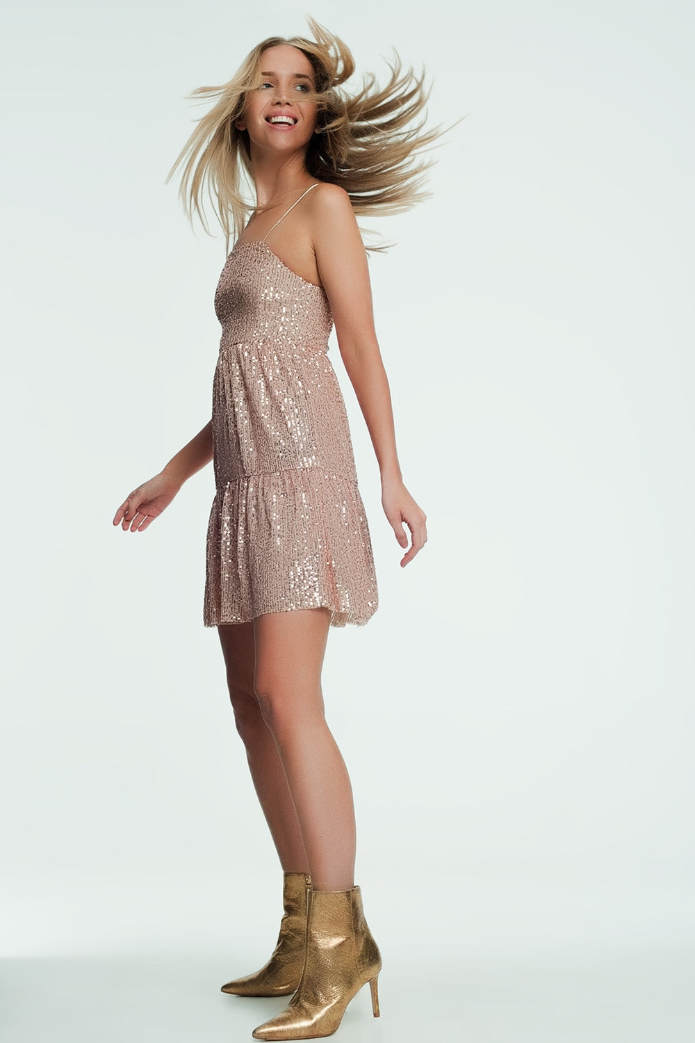 Golden Mini Dress With Glitter