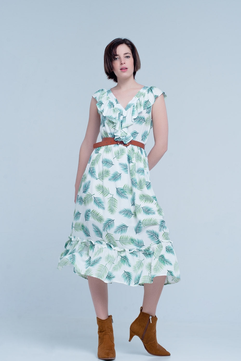 Green Printed Midi Dress With Ruches