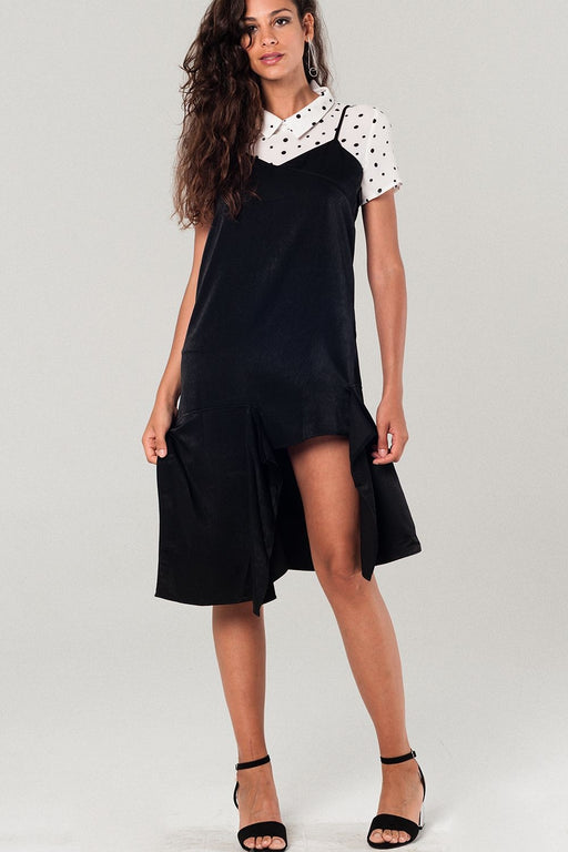 Asymmetric Hem Slip Dress In Black