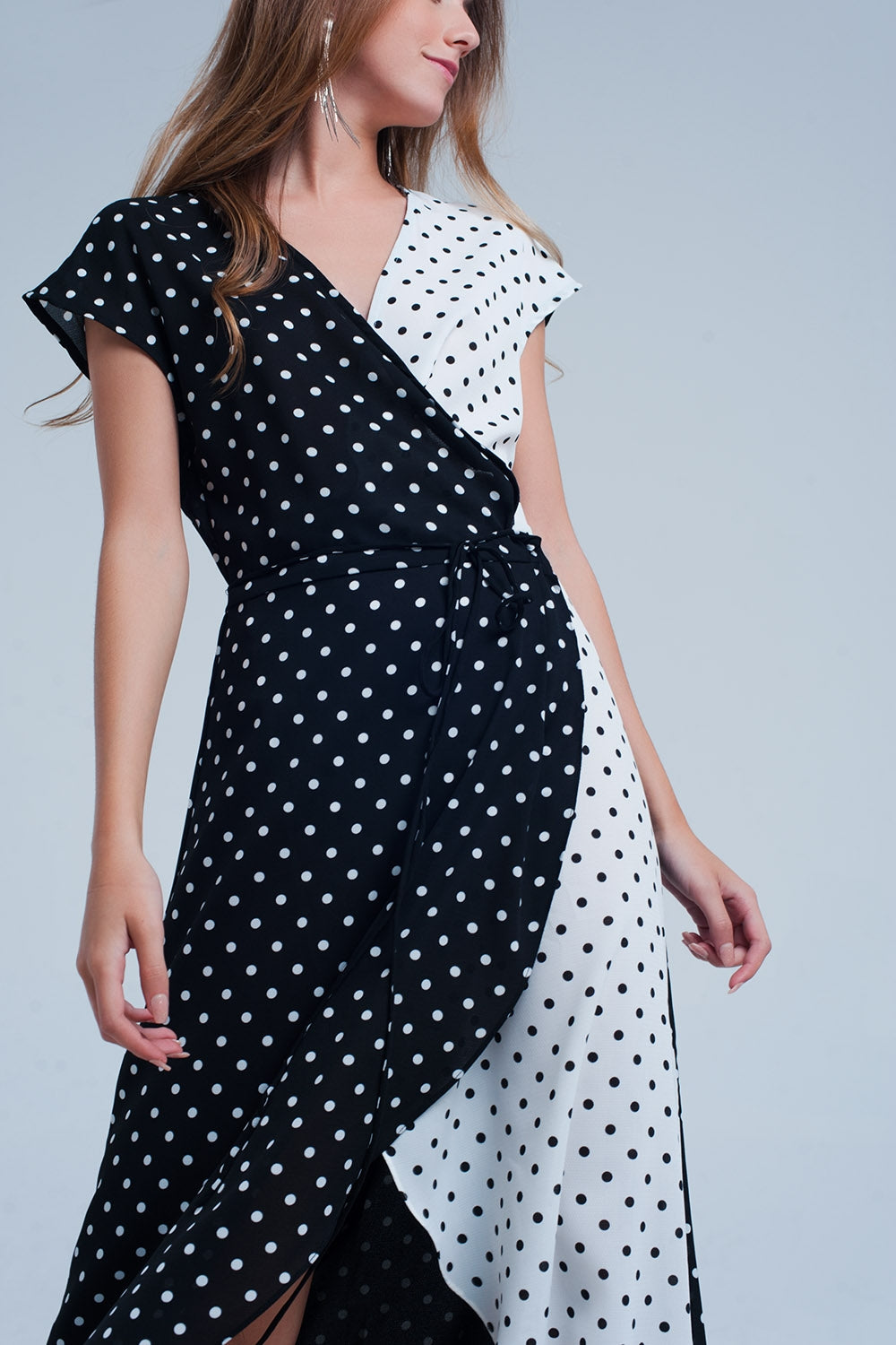 Black White Wrap Dress With Polka Dots