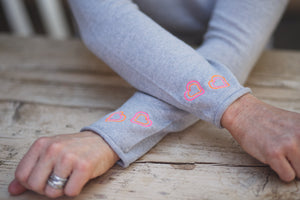 neon embroidered hearts on grey merino top